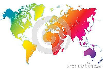 rainbow world map highly detailed vector