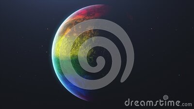 White stars. Rotating planet earth in outer space is shrouded in colorful stripes. stock footage