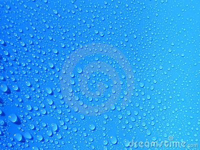 Raindrop on blue