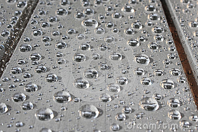 Raindrops on grey table