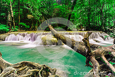Rainforests waterfall at Erawan waterfall National Park ,Thailan