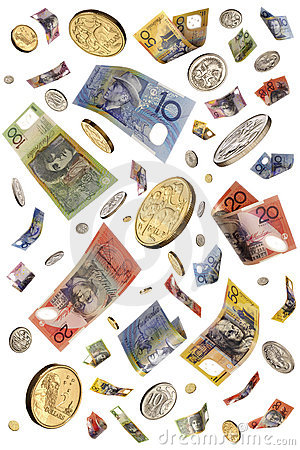 Raining Australian Money Isolated
