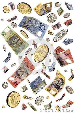 Free Raining Australian Money Isolated Stock Photos - 6140053