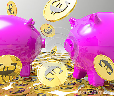 Raining Coins On Piggybanks Showing Profits