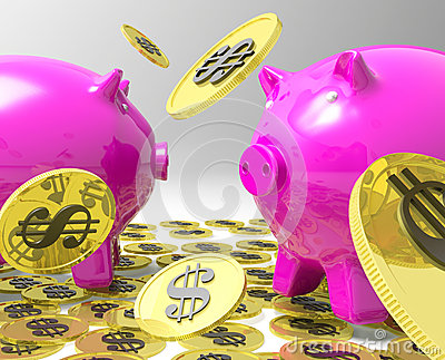 Raining Coins On Piggybanks Shows American Profit