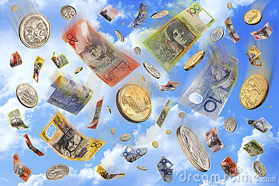 Raining Falling Australian Money Dollars