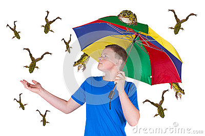 It is raining frogs