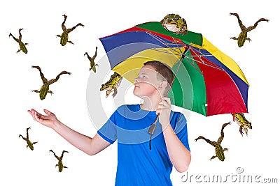 It is raining frogs