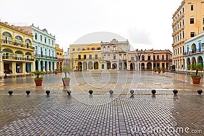 Raining in La Plaza Vieja,a landmark in Old Havana