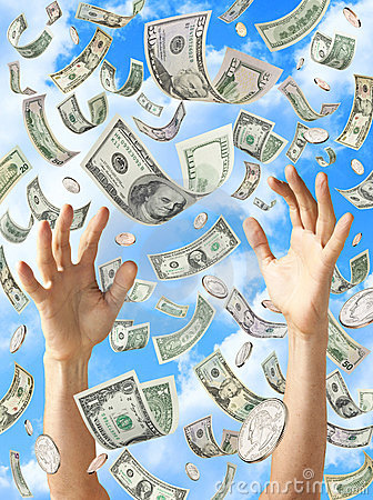 Free Raining Money Hands Catching Dollars Royalty Free Stock Photos - 19571018
