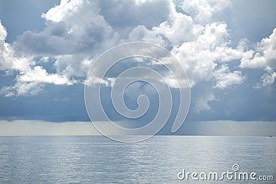 Raining over sea