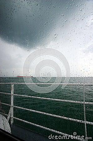 Raining sea view