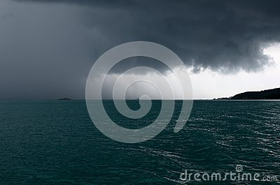 Raining storm over the sea