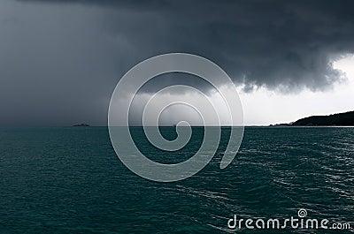Raining storm over the sea