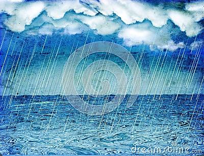 Raining storm in sea.Vintage