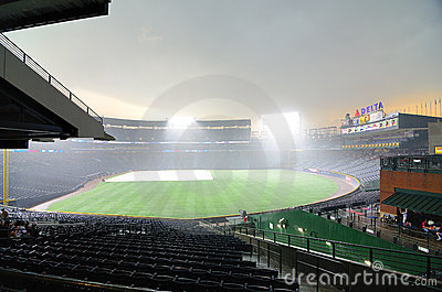 Rainout at Turner Field Editorial Photography