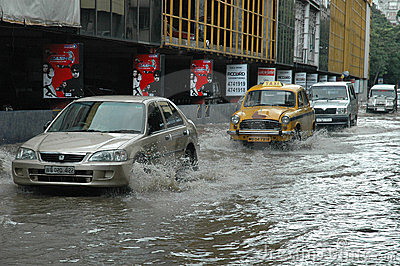 Rains cause water logging in Kolkata Editorial Photo