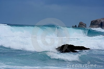 Rainstorm, giant waves, tsunami close-up.