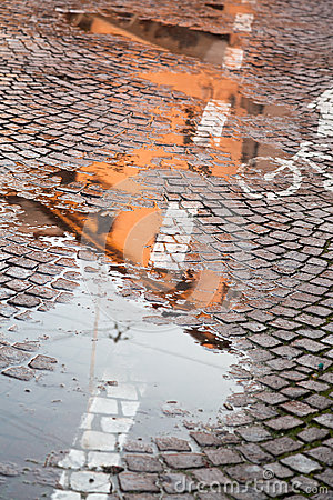 Rainy autumn puddle