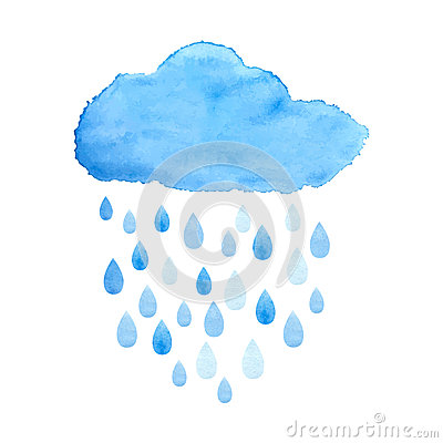 Free Rainy Cloud In Watercolor. Vector. Royalty Free Stock Image - 48073626