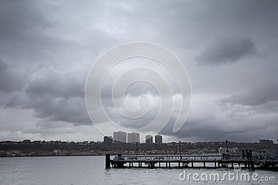 Rainy clouds over Hudson River Editorial Photo