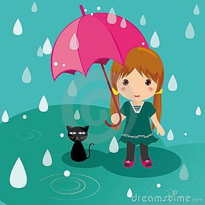 Rainy Day Cat And Girl Stock Photo Image 16404760