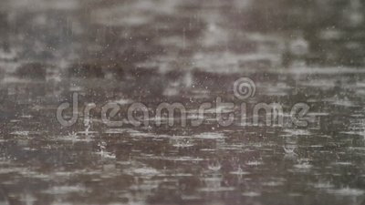 Rainy day in the city. Raining day Water drops on the asphalt Wet road Puddles on the road Rain water on the ground Bad weather Close up Copy space stock video