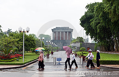 Rainy Day at the Ho Chi Minh Mausoleum  Editorial Stock Image