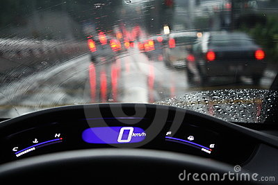 Rainy Day Rush Hour Traffic Congestion