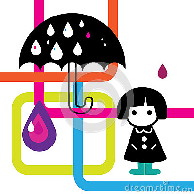Rainy Girl Illustration