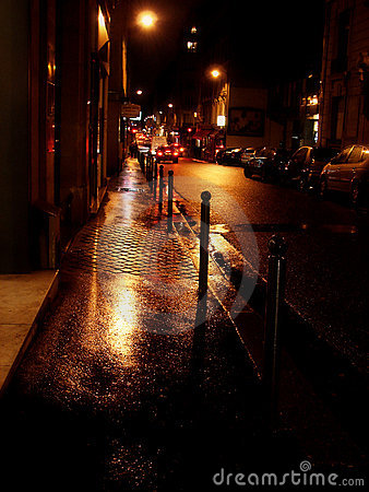rainy golden street