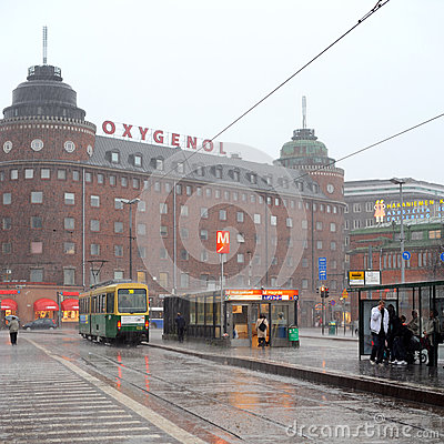 Rainy Helsinki Editorial Photography