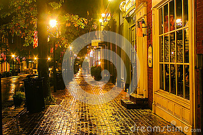 Rainy Night in Old Town Editorial Photography