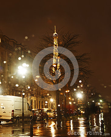 Rainy Night in Paris Editorial Photography