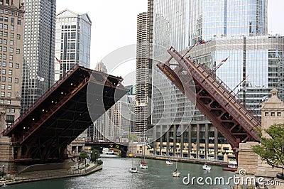 Raised bridge in downtown Chicago
