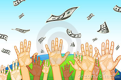 Raised Hand Catching Dollar