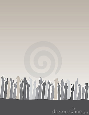 Raised hands background