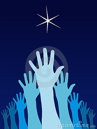 Raised hands trying to reach a star