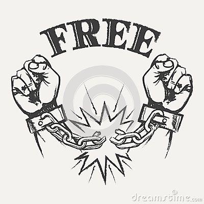Free Raised Hands With Broken Chains Royalty Free Stock Images - 112520199