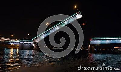 Raised Liteiniy Bridge in St.Petersburg