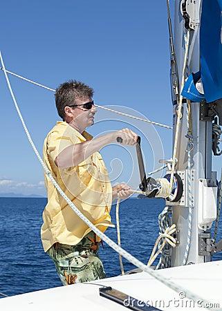 Raising the sail