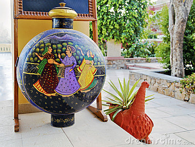 Rajasthan India artful vase garden ornament