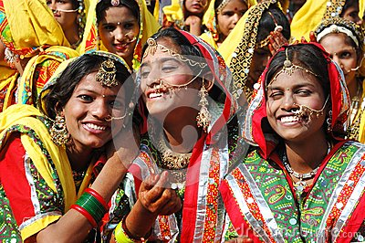 Rajasthani school girls are preparing to dance perfomance Editorial Photo