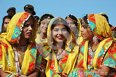 Rajasthani school girls are preparing to dance perfomance at Pushkar camel fair Editorial Photography
