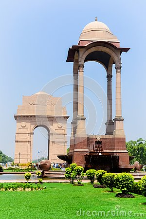 Free Rajpath, Raisina Hill, New Delhi, India January 2019: The Canopy Lies 150 Meters From The India Gate. The Vacant Canopy, Royalty Free Stock Images - 143127879