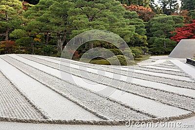 Raked sand zen garden