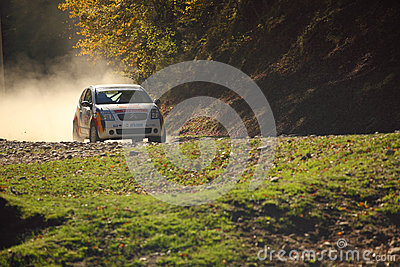 Rally Car on gravel Editorial Stock Photo