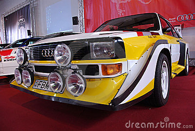 Rally car on red stage Editorial Photography