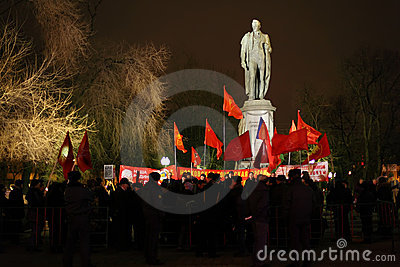 Rally of Communists near monument Editorial Stock Image