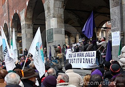 Rally in defence of the Italian Constitution, Mila Editorial Photo